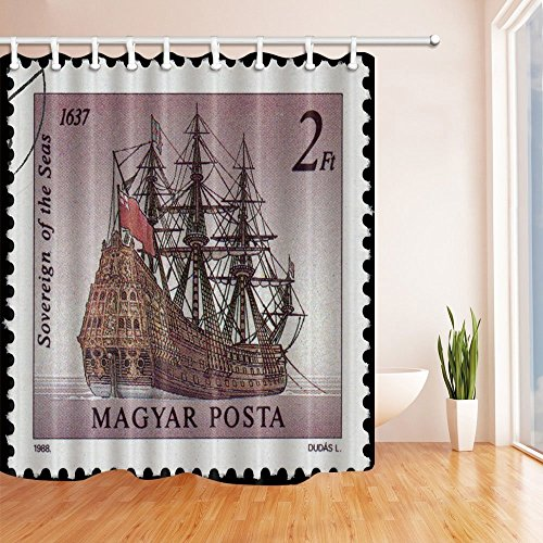 GoHeBe Stamp Decor A Ship on Sea of Magyar 2Ft Bath Curtain Polyester Fabric Waterproof Shower Curtain 71X71 in Shower Curtains Hooks - Rod Tension 2'