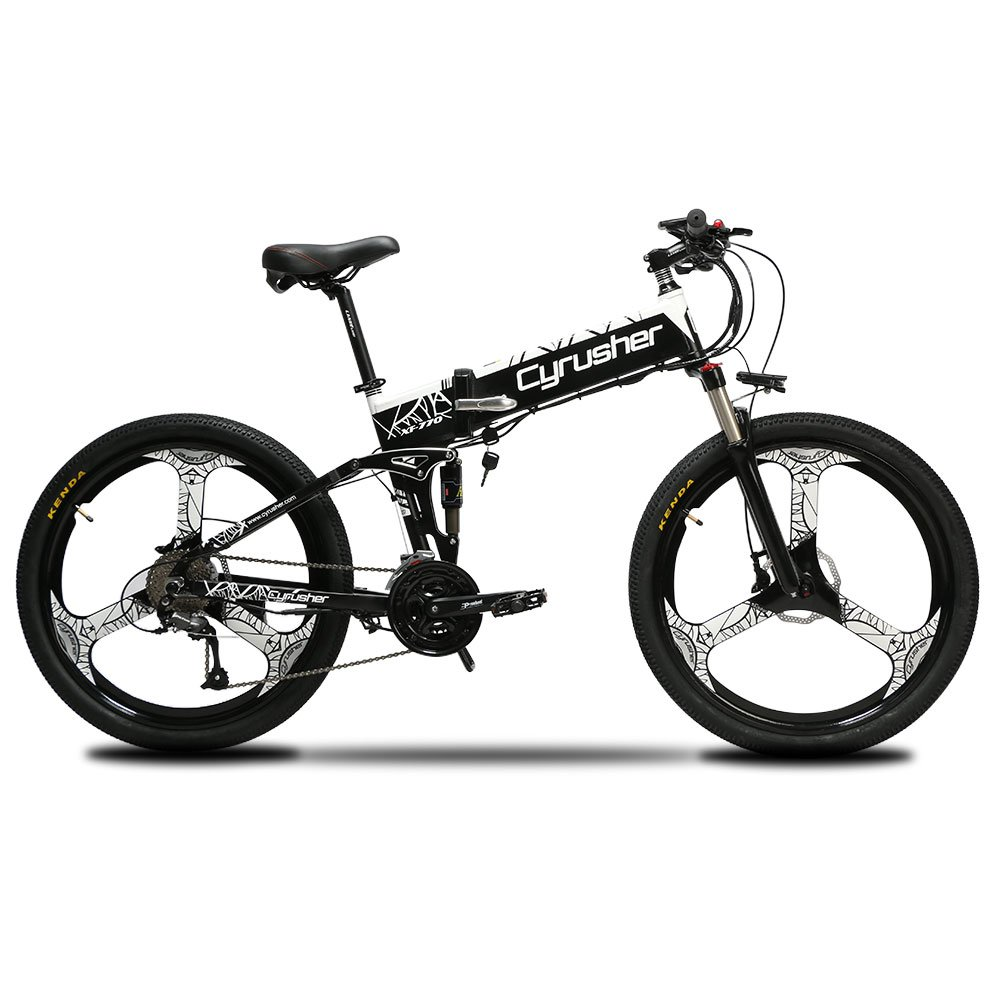 7adcfa49318 Cyrusher XF770 Folding Electric Bike 500W/250W Mountain Bicycle Full  Suspension 48V 10AH Hidden Battery Shimano 27 Speeds with Hydraulic Disc  Brake, ...