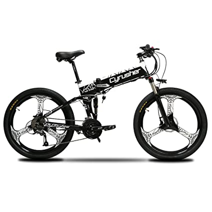 7becc3a6aee Cyrusher XF770 Folding Electric Bike 500W/250W Mountain Bicycle Full  Suspension 48V 10AH Hidden Battery