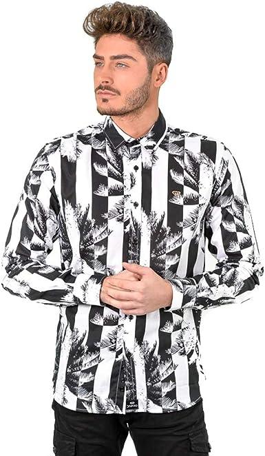 DIVARO - Camisa Estampado Rayas Y Palmeras Manga Larga Color Blanco Y Negro- para Hombre: Amazon.es: Ropa y accesorios