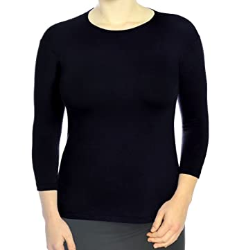 79dc6477e2a Kosher Casual Women s Modest 3 4 Sleeve Closed Neckline Crew Neck Layering  Top at Amazon Women s Clothing store