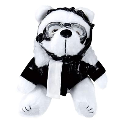 Plush White Aviator Bear, Teddy Bear Plush, Black Faux Leather Bomber Jacket, Goggles & Helmet: Toys & Games