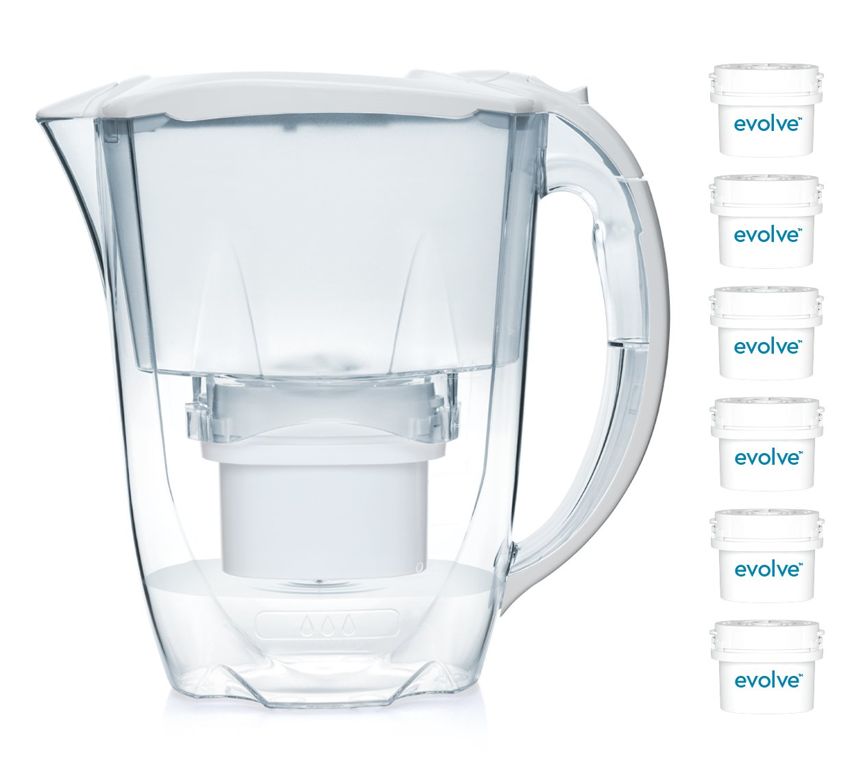 Aqua Optima 12 month annual pack - Oria Water filter jug with 6 x 60 day Evolve water filter cartridges - White EJ0651