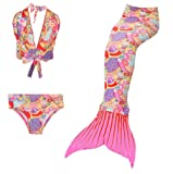 BEONME Kids Girls Sparkle Mermaid Tail Swimmable