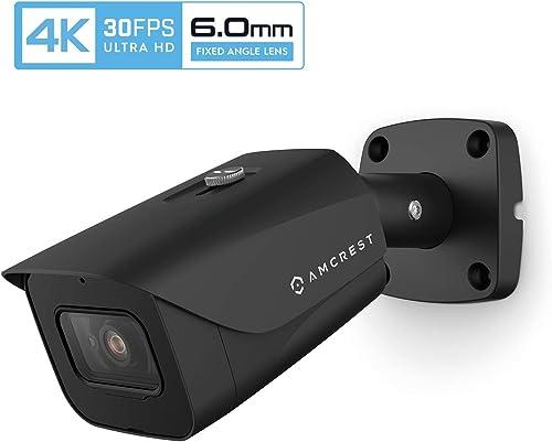 Amcrest 4K POE Camera 30fps UltraHD 8MP Outdoor Bullet PoE IP Camera, 164ft Night Vision, 6.0mm Narrower Lens, 55 Viewing Angle, IP67 Weatherproof, 4K 3840×2160 30fps, Black IP8M-2597EB-6MM