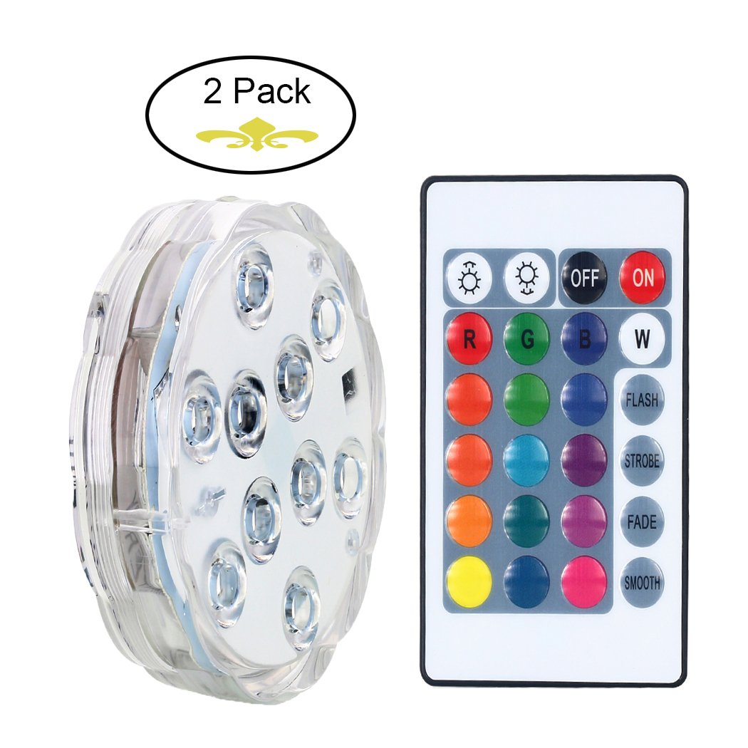 AICase Remote Controlled Submersible Led Lights, Waterproof Multi-Color RGB Battery Powered Versatile Function Light with 10 LEDs for Vase Base, Floral, ...