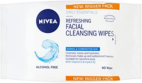 Nivea Daily Essentials 3 en 1 Toallitas de limpieza facial, piel normal, pack de