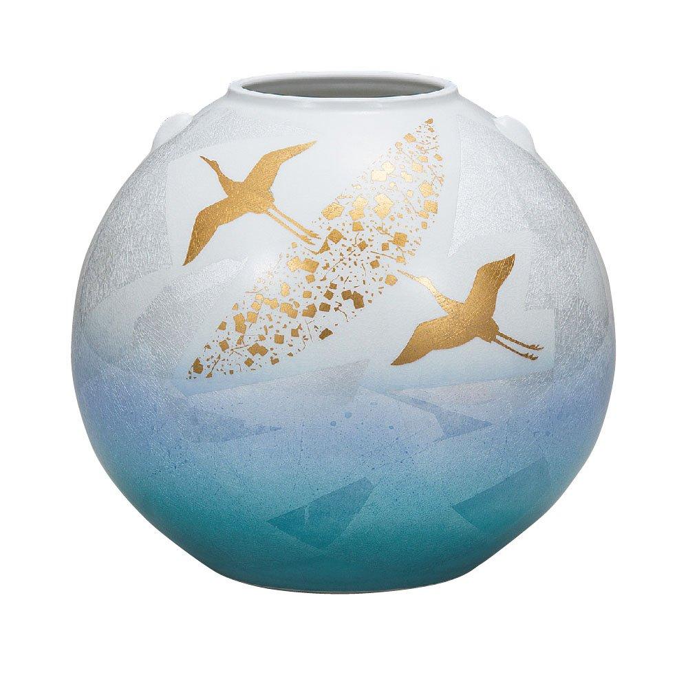 九谷焼 陶器 花瓶 銀彩金鶴 BK5-1328 B076VX3HP4