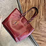 Rurah Womens Shoulder Bag Fashion Fringed Handbag Shoulder Bag Top Handle Satchel Bag Purse,As description