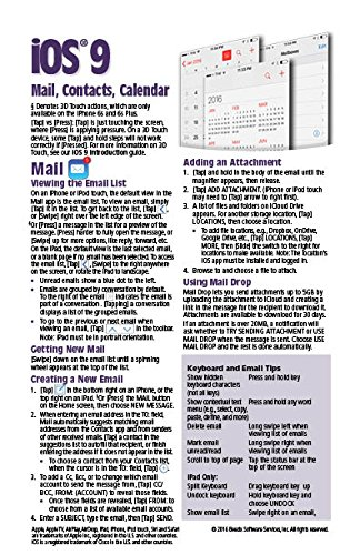 Price comparison product image iOS 9 Mail, Contacts & Calendar Quick Reference Guide for iPad, iPhone, and iPod touch (Cheat Sheet of Instructions, Tips & Shortcuts - Laminated Guide)