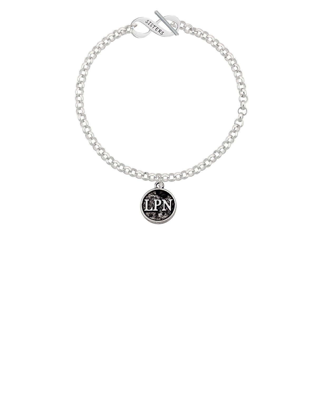 8 Silvertone Nurse Caduceus Seal LPN Sisters Infinity Toggle Chain Bracelet
