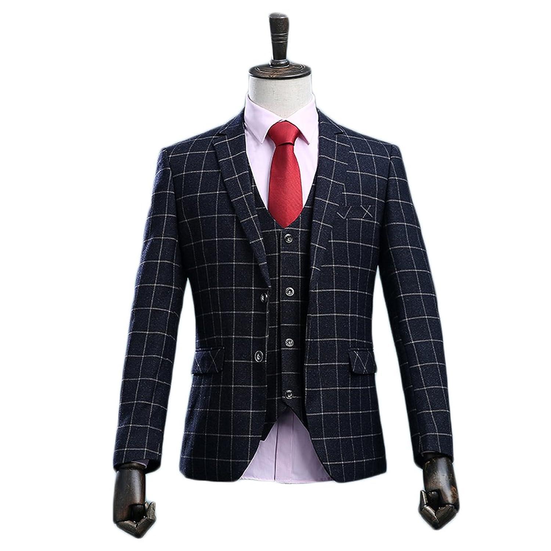 AK Beauty Men's 3 Piece Business Plaid Suit (Jacket+Pants+Vest)