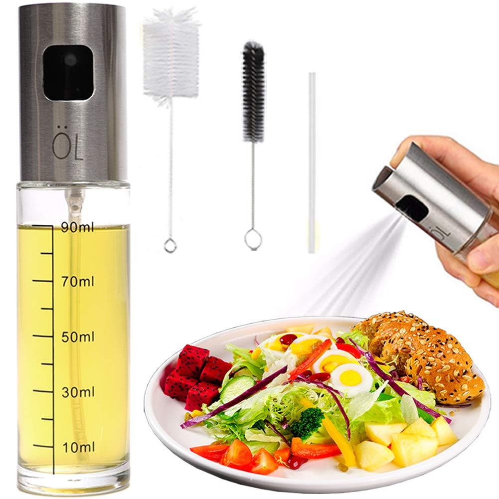 Olive Oil Sprayer Mister Spritzer for Cooking Air Fryer Oil Dispenser Bottle with Bottle Brush and Replace Tube for Vinegar Soy Sauce Mini Kitchen Gadgets for BBQ,Making Salad, Baking, Grilling