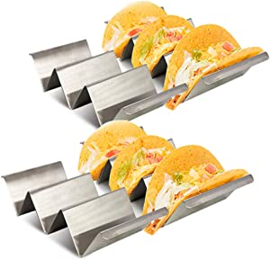 Ferrisland Taco Holder Set of 4, Stainless Steel Taco Stand - Dishwasher & Oven Save - Easy To Fill Taco Rack And Perfect To Keep Your Delicious Tacos