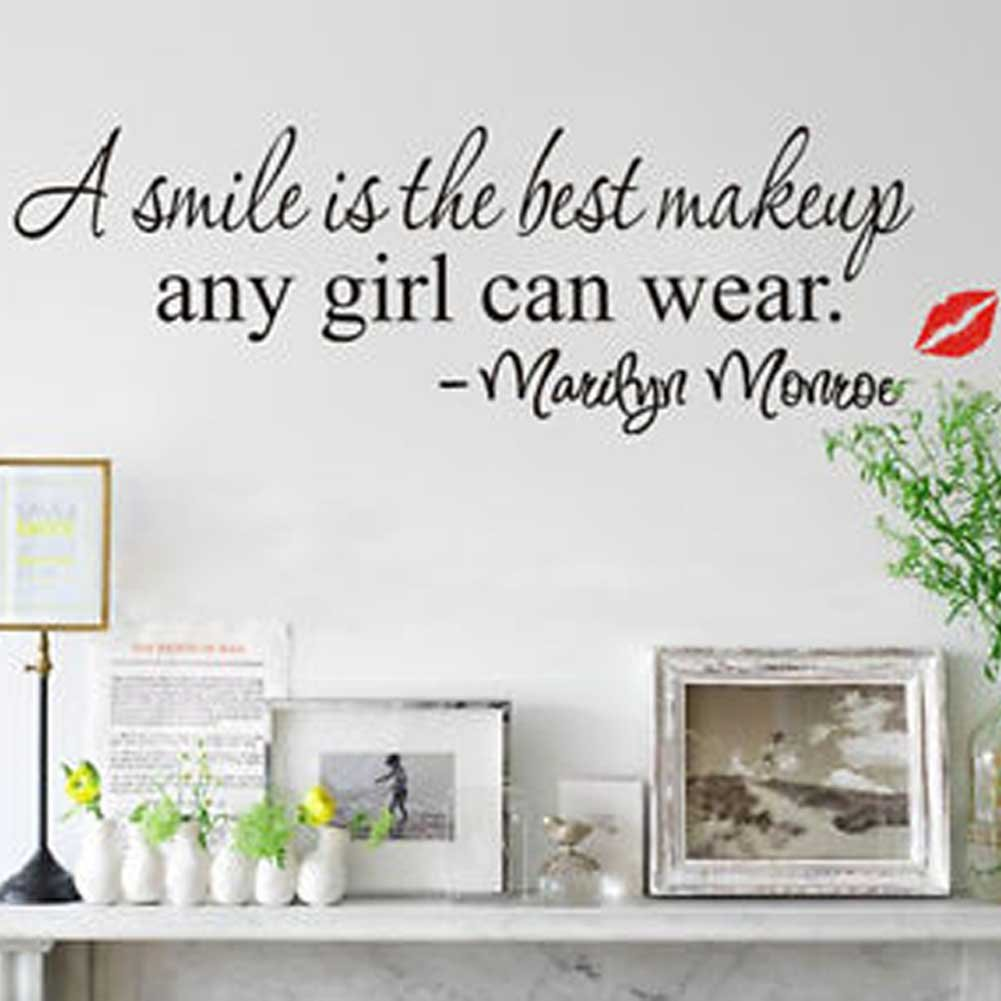 Discountfan New Design, A Smile Is The Best Makeup Any Girl Can Wear Quote Wall  Sticker Art Mural Decals D¨¦cor: Amazon.co.uk: DIY U0026 Tools