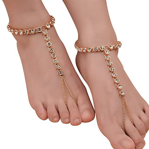 Rhinestone Foot Chain Barefoot Sandals Jewelry Twinkling Anklet with Adjustable Toe Ring For Beach Accessory Wedding Gift, Silver