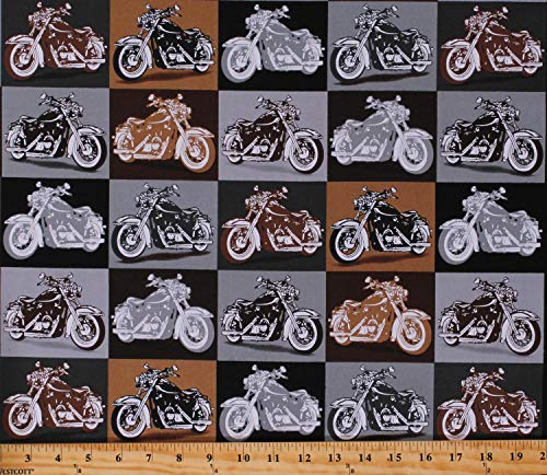 (Cotton Motorcycles Bikes Vehicles Transportation Vintage Retro Biker for Life Cotton Fabric Print by The Yard)