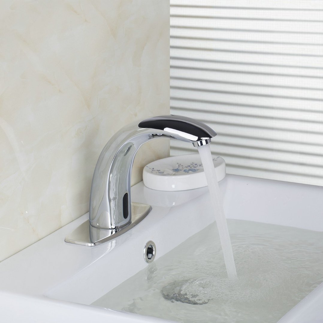 Koko Brand New Waterfall Chrome Touch Free Automatic Sensor Tap Sink Hot Cold Mixer Faucet