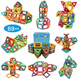 Magnetic Blocks, 69-Pcs Set Kids Magnetic Tiles Educational Building Blocks Construction Stacking Toys for Boys and Girls