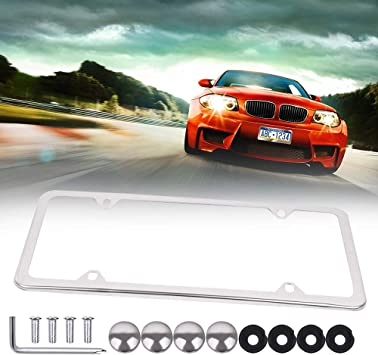 1Pcs 4 Holes Silver 123977-5211-1356095281 ECCPP License Plate Frame Protect Plates Universal License Plate Covers with Screws for US Vehicles