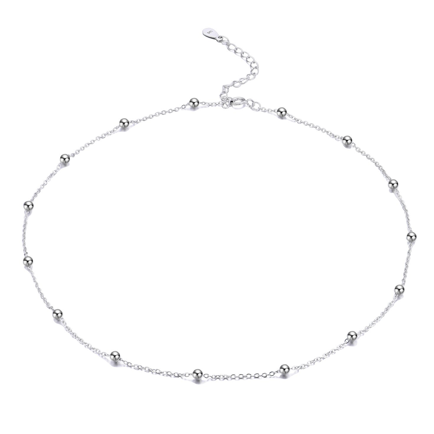 FOROLAV Women's 925 Sterling Silver Beaded Cable Chain Choker Necklace Adjustable, 13.7''