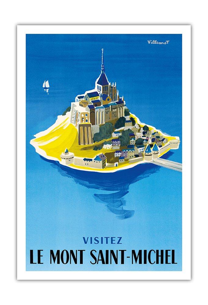 モンサンミッシェルをご覧ください ノルマンディー、フランス ビンテージな世界旅行のポスター によって作成された ベルナールヴィユモ c.1955 美しいポスターアート B01N7CTK9F 69cm x 112cm キャンバスアート(ロール) 69cm x 112cm キャンバスアート(ロール)