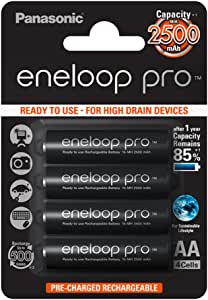 Panasonic Eneloop Pro AA 2500mAh Eneloop NiMH Ready to Use Rechargeable Battery BK 3HCDE/4BE (4 Eneloop Pro Batteries)