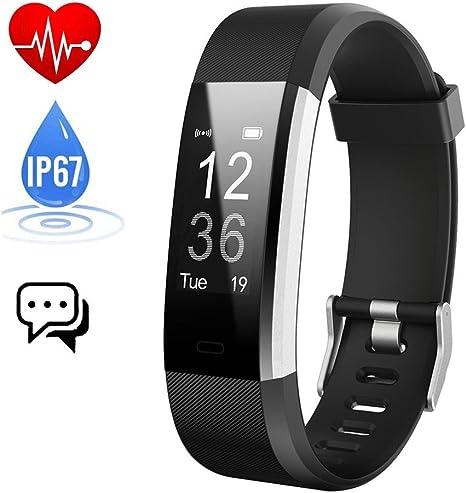 Pulsera Actividad,Monitor de Frecuencia Cardiáco,Pulsera Reloj Inteligente con Pulsómetro Impermeable Podómetro Monitor de Ritmo Cardíaco Monitor de Sueño GPS para Hombre Mujer Niños iOS Android: Amazon.es: Deportes y aire libre