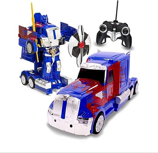 Glzcyoo Optimus Prime Transformador, RC Juguete transformable Robot de Control Remoto de Camiones con un botón de Transformación, Sonidos realistas de Motor y Velocidad de Deriva 360 Escala 1:14: Amazon.es: Hogar