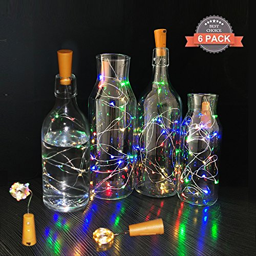 Cork Lights for Wine Bottles 6 Pack,MKDGO 2m/6.5Ft 20 LED Copper Wire Lights String Starry LED Lights for Bottle DIY, Party, Decor, Christmas, Halloween,Wedding (Warm (Halloween Diy Party Ideas)