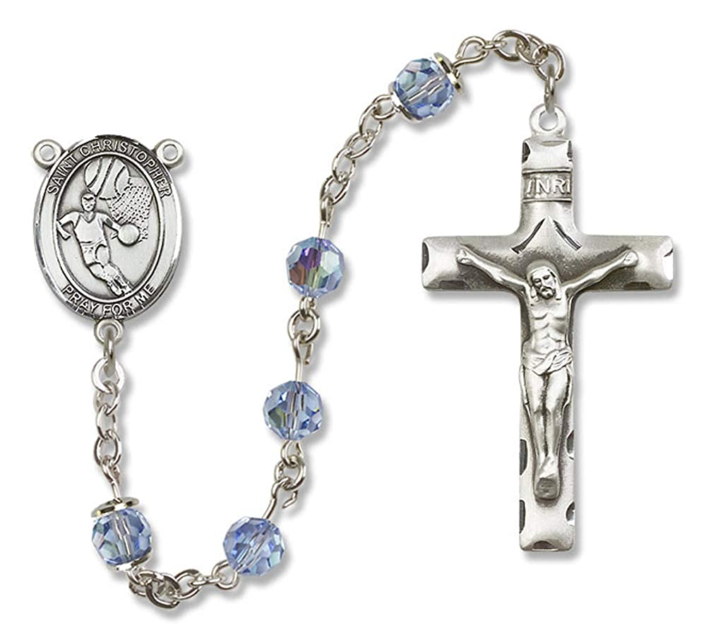St Austrian Tin Cut Aurora Borealis Beads 6mm Swarovski Christopher//Basketball Center is the Patron Saint of Travelers//Mo All Sterling Silver Rosary with Light Sapphire