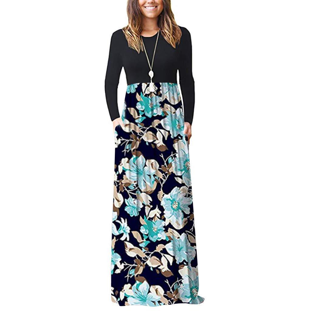 Elegant Maxi Dresses for Women Sale Chaofanjiancai Long Sleeve Loose Plain Maxi Pockets Dresses Casual Printed Long Dresses Light Blue by Chaofanjiancai_Dress