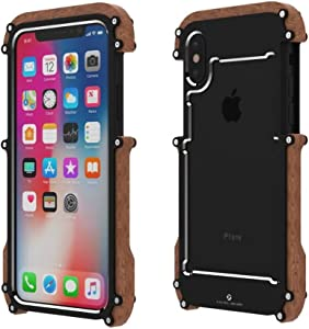 iPhone X Wood Metal Frame Case, Drop Protection Ultra Thin Aluminum Metal Cover Protective Case Shockproof Dropproof Bumper Frame for Apple iPhone X/iPhone tan 5.8inch (Black)