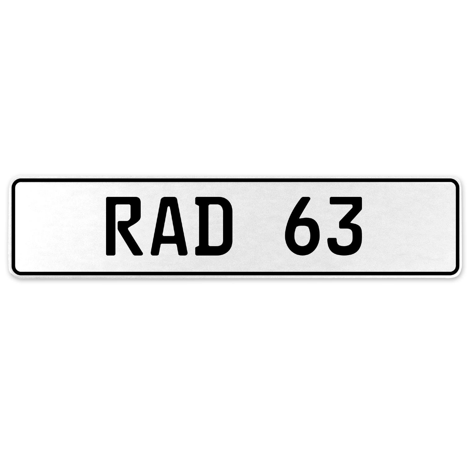 Vintage Parts 553967 RAD 63 White Stamped Aluminum European License Plate