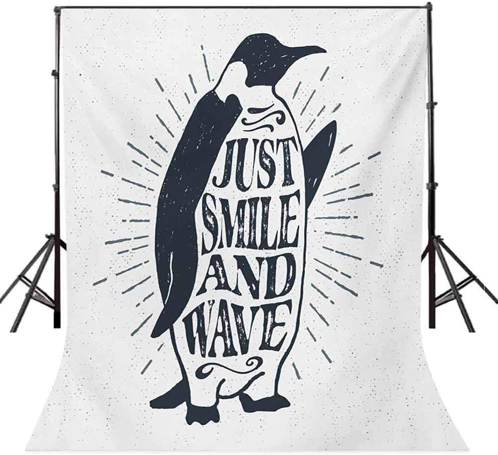 Penguin Waving His Flipper and Just Smile and Wave Text in The Belly Background for Child Baby Shower Photo Vinyl Studio Prop Photobooth Photoshoot Quote 10x15 FT Photography Backdrop