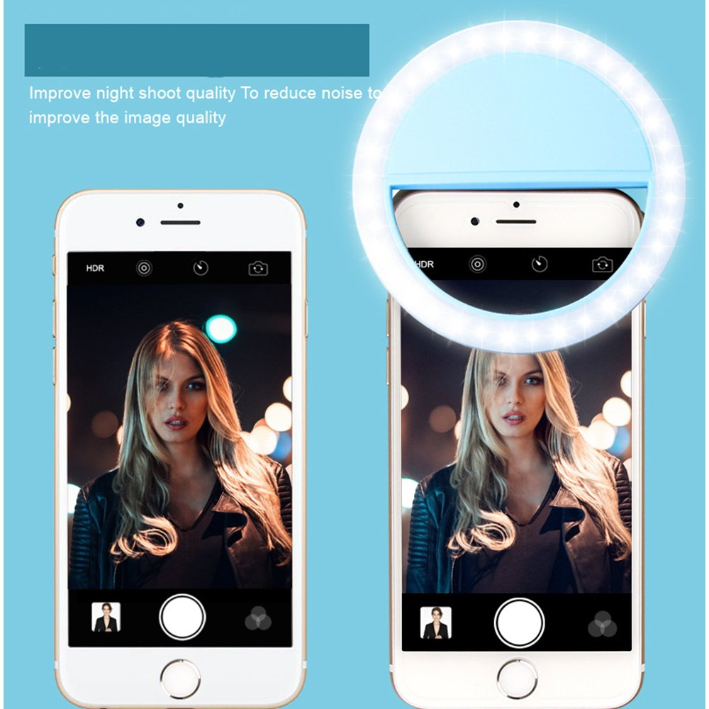 Pixco Clip-on Selfie Cellphone Ring Light Supplementary Lighting for Night or Darkness with 3 Level Brightness for iPhones and Android Smart Phones(Blue)