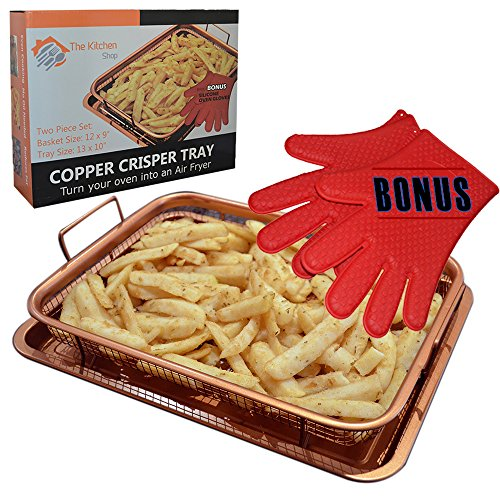 COPPER CRISPER TRAY FRYER by The Kitchen Shop Turn your oven into an AIR FRYER - Non Stick Mesh Grill Crisper Tray - Multi Purpose Design - WITH BONUS SILCONE GLOVES (1)