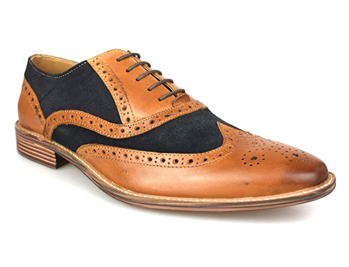 1950s Men's Clothing Premium Mens Two Tone Tan Leather Navy Suede Brogues 1829TD £49.99 AT vintagedancer.com