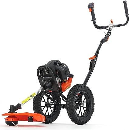 Fuxtec - Motor de gasolina Sense sobre ruedas - FX-FSR152 - con 52 ccm, grandes ruedas y 3 CV de potencia - Cortacésped - Sierra recortabordes - Hilos FS - 2 tiempos: Amazon.es: Jardín