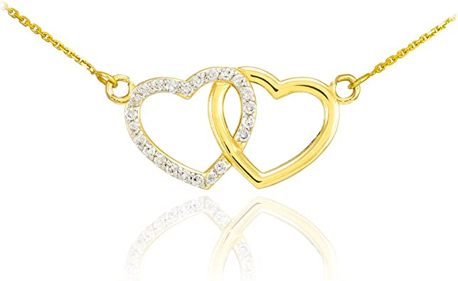 Handcrafted 14k Polished Yellow Gold Intertwined Double Heart Charm Pendant