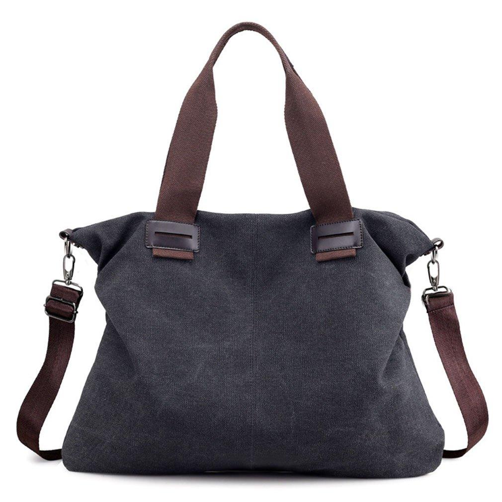 Women's Casual Vintage Hobo Canvas Daily Purse Top Handle Shoulder Tote Shopper Handbag (Medium Black)