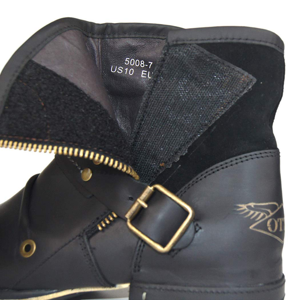 Buckle Retro Martin Boots Layer Leather Large Size Mens Boots Black Leather Boots Dr