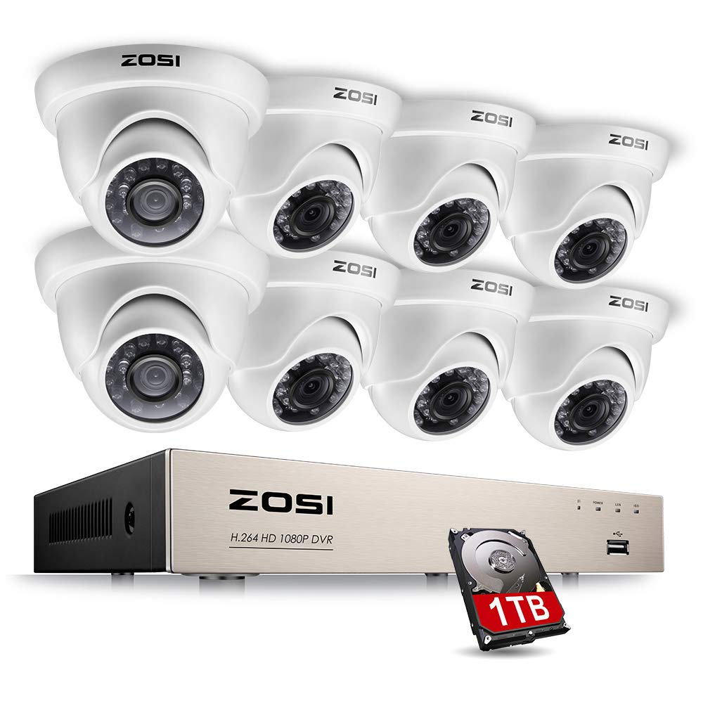 ZOSI 8-Channel HD-TVI 1080N DVR Security Surveillance System with 8 High-Resolution 720P/1280TVL Cameras and 1TB Hard Drive by ZOSI