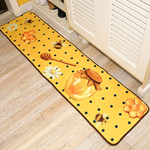 JTENGYAO Honey Pattern Flannel Anti-Slip Rug Area Kitchen Rug Decorative Entry Carpet Decor Front Entrance Indoor Outdoor Mats for Rest Room Presence Chamber-15.7 x 63 (Presence Chamber)