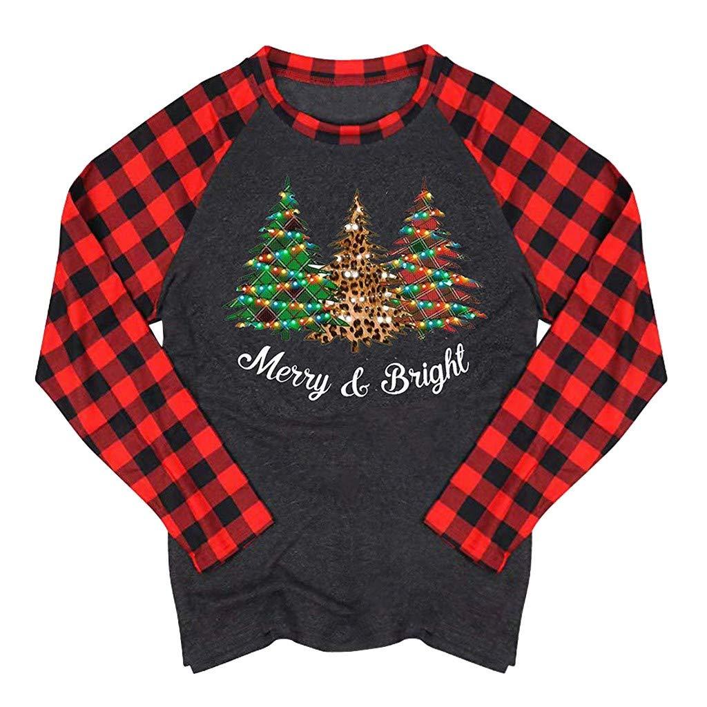 Women Tops and Blouses Long Sleeve Christmas Tree//Elk//Santa Claus//Letter Tunics Raglan Plaid Pullover Sweatshirt T-Shirt