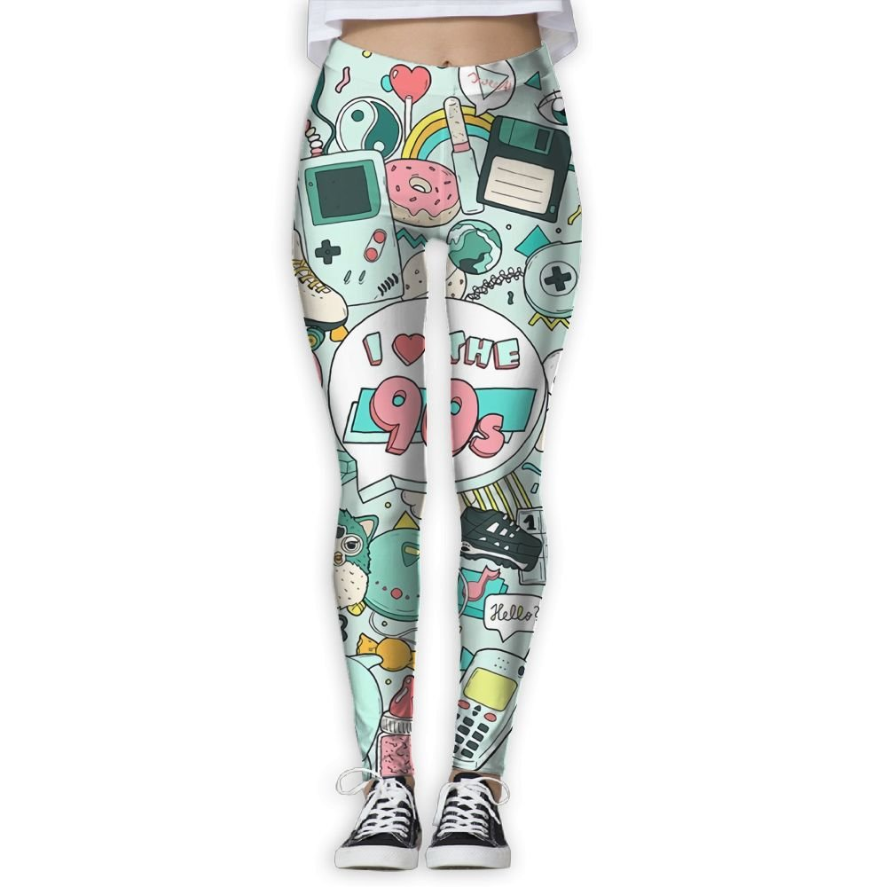 Doppyee I Love The 90s Printing Compression Leggings Pants Tights For Women S-XL