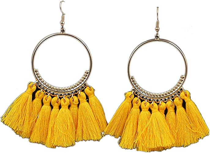 BODYA Bohemian Tassel Drop Dangle Earrings with Alloy-Plated Ring