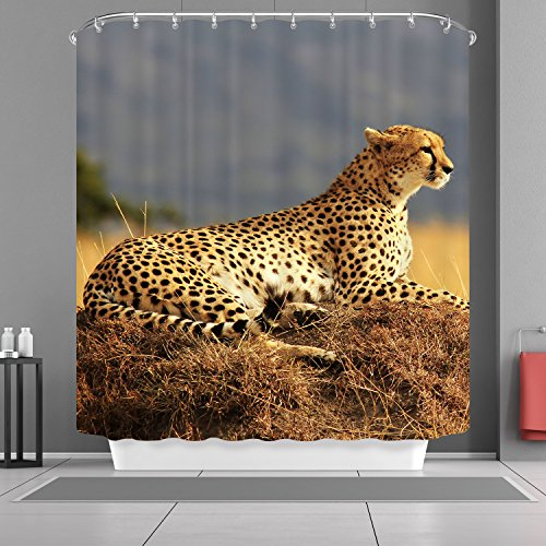 Cheetah Bathroom Accessories - Safari Decor Shower Curtain Set by VANCAR, Leopard Resting Africa Safari Wild Cats Nature Picture Print Cheetah Shower Curtain, Bathroom Accessories