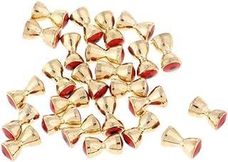 D DOLITY 25pcs Perles d'Haltère en Laiton, Yeux Convexes de Barbell, Voler Perles Matériaux de Fixation