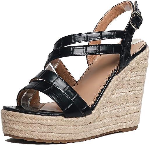 Women New Woven High Wedge Heel Ankle Strap Platform Sandals Peep Toe Boho Shoes